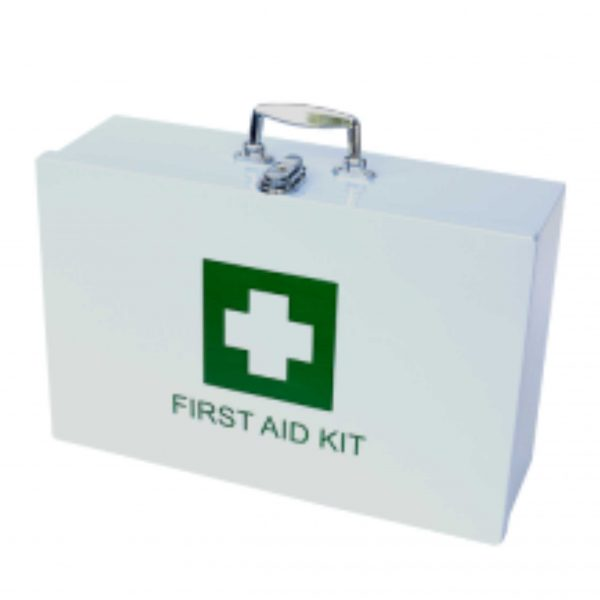 FIRST AID KIT – FACTORY METAL CONTAINER – FILLED